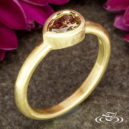 Ringhammer Collection-18Kt Yellow Side Set Pear Diamond Ring