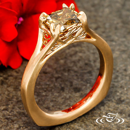 Custom 14Kt Rose Gold Solitaire Phoenix Ring