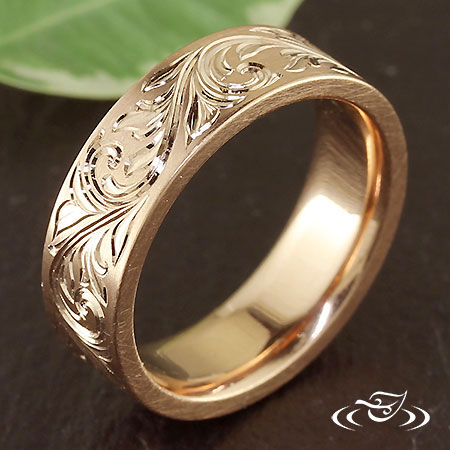 14KR HAND ENGRAVED BAND SIZE 7