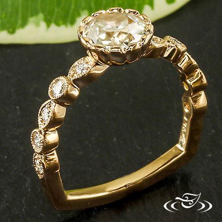 Rose Gold European Diamond Engagement Ring