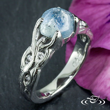 Rough Montana Sapphire And Woven Branch Engagment Ring