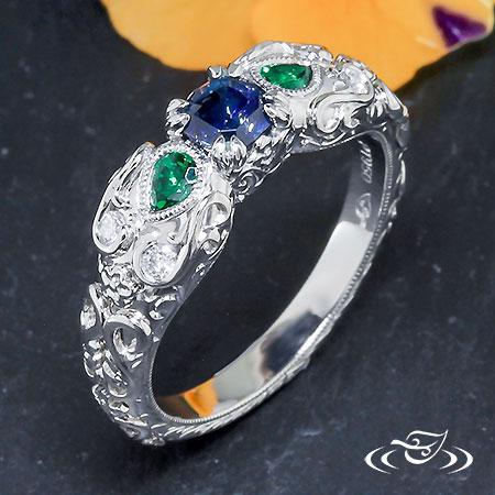 Tsavorite Garnet And Blue Sapphire Engagement Ring