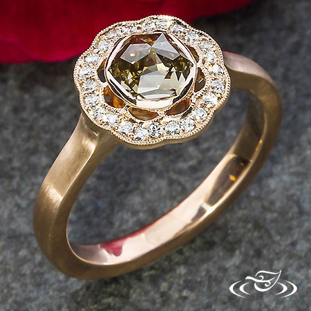 ROSE CUT SCALLOPED HALO ENGAGEMENT RING