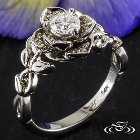 White Gold Rose Engagement Ring