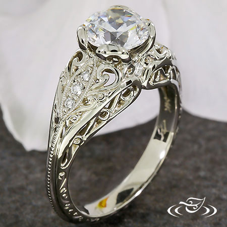 14K WHITE GOLD PIERCED CURL WAVE RING