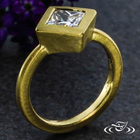 Golden Princess Cut Diamond Engagement Ring