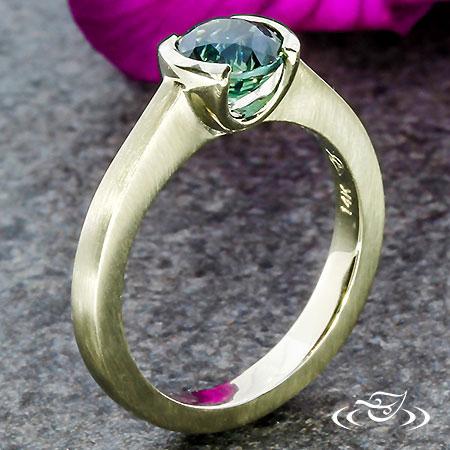 Half Bezel Sapphire Engagement Ring