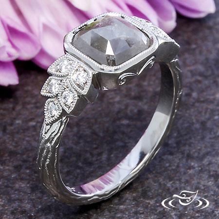 Rustic Grey Diamond Engagement Ring
