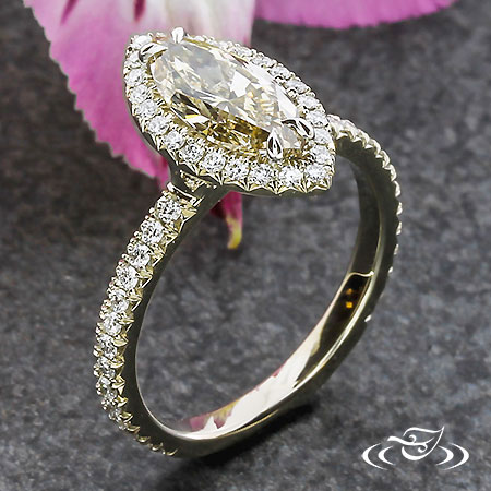 FRENCH SET HALO WITH MARQUISE CHAMPAGNE DIAMOND