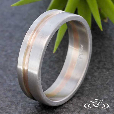 PALLADIUM AND ROSE GOLD STRIPE WEDDING BAND