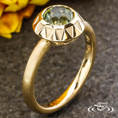 Gold Engagement Ring With Mint Green Montana Sapphire