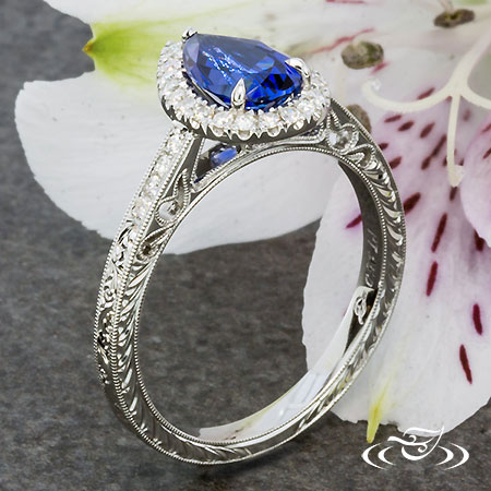 Blue Pear Shaped Sapphire  Halo Engagement Ring