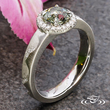 Carved Mountain Halo Ring
