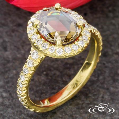 Smoky Rose Cut Gold Diamond Engagement Ring