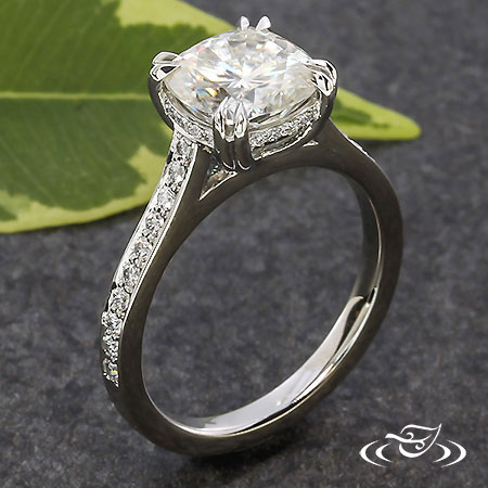 MOISSANITE SOLITAIRE WITH ACCENT DIAMONDS