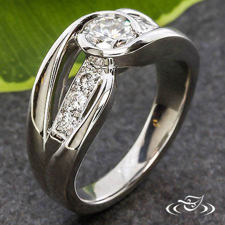 DIAMOND AND PLATINUM WRAP ENGAGEMENT RING
