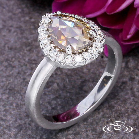 RUSTIC ROSE CUT CHAMPAGNE PEAR DIAMOND ENGAGEMENT RING