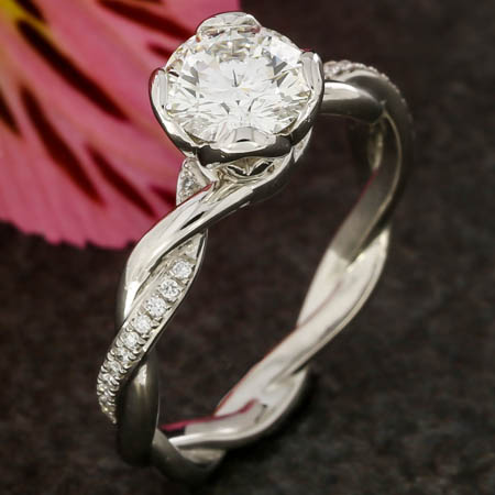 PLATINUM TWISTED BAND DIAMOND ENGAGEMENT RING