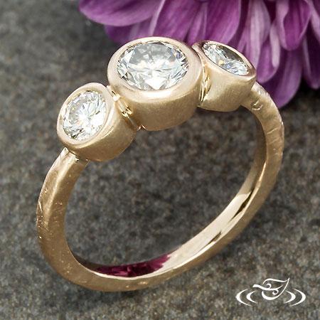 Rustic Three Stone Engagement Ring