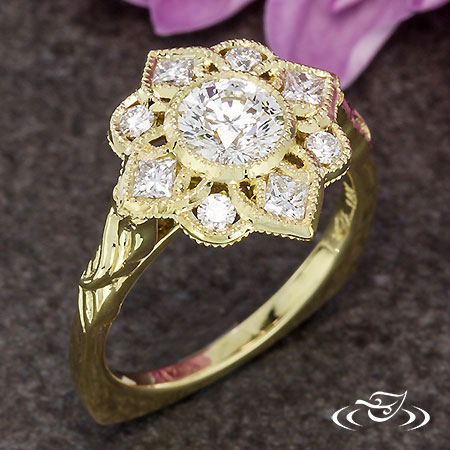18KT YELLOW DECO FLORAL