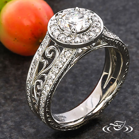 Halo And Filigree Engagement Ring