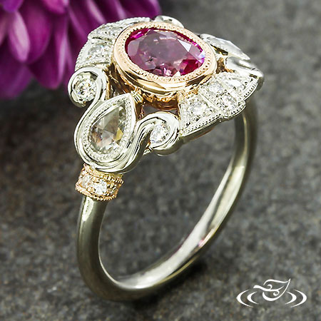 ROSE GOLD AND PINK SAPPHIRE ENGAGEMENT RING