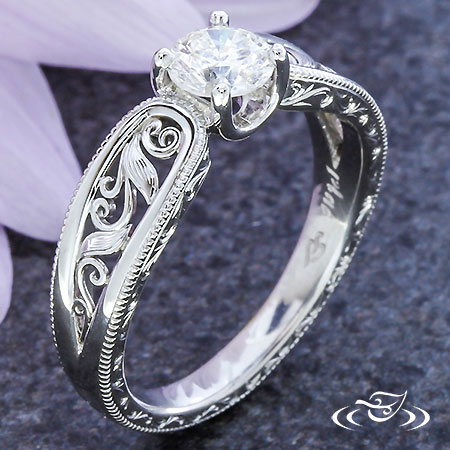 Filigree Vine And Leaf Engagement Ring