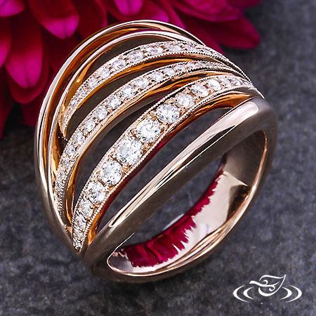 MULTI ROSE GOLD DIAMOND ENAGEMENT BAND