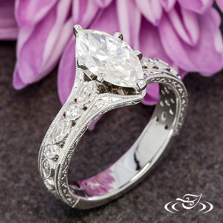 PLATINUM MARQUISE ANTIQUE STYLE ENGRAVED ENGAGEMENT RING