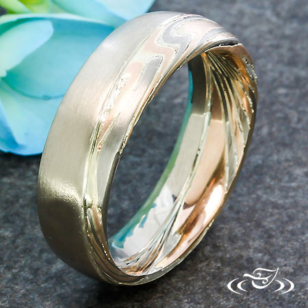 MOKUME AND 14K PALLADIUM ELLIPSE BAND