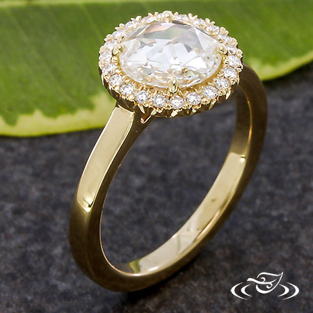 ROSE CUT DIAMOND HALO ENGAGEMENT RING