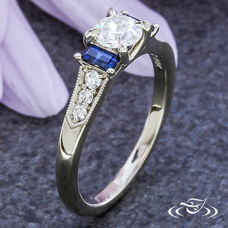 BLUE BAGUETTE ENGAGEMENT RING