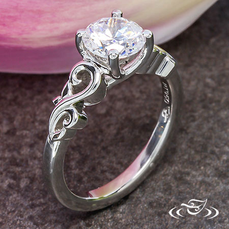PLATINUM LEAFY SWIRL ENGAGEMENT RING