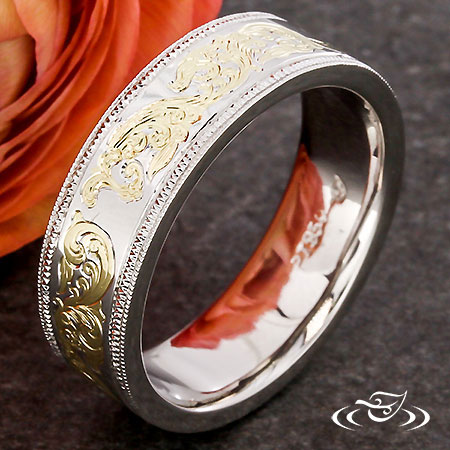 Gold Inlay Band With Engraving