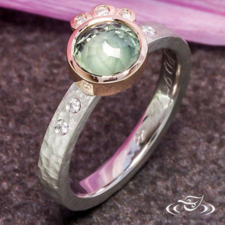 Montana Sapphire Rose Cut & Diamond Accent Engagement Ring