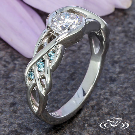 CELTIC BLUE DIAMOND BRAID ENGAGEMENT RING