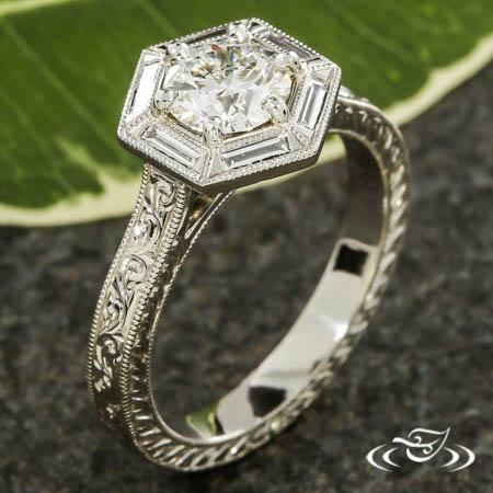 Hexagon Halo Engagement Ring