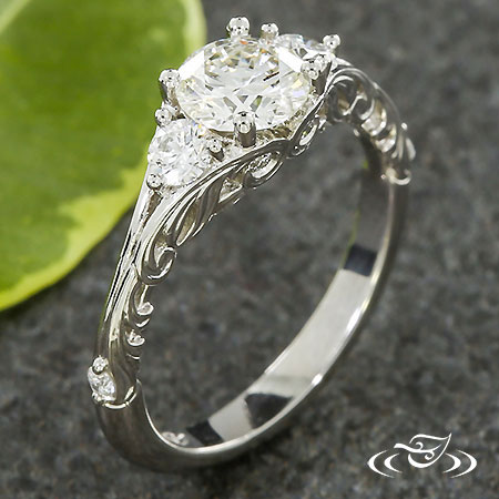 THREE STONE SWIRL ENGAGEMENT RING
