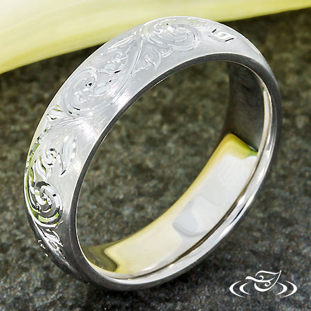 Platinum Hand Engraved Wedding Band