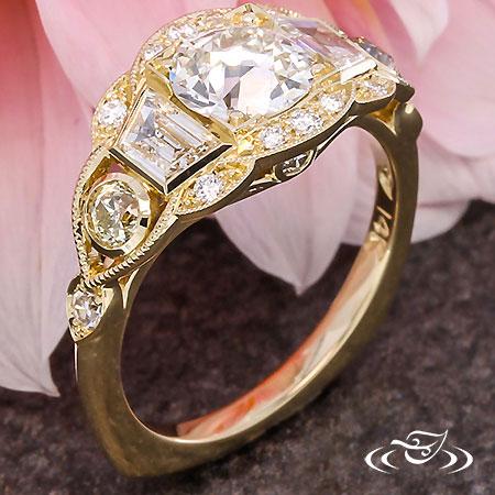 OLD EURO DIAMOND  & GOLD ART DECO ENGAGEMENT RING
