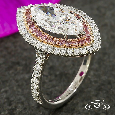 Spectacular Pink Sapphire And Diamond Double Halo