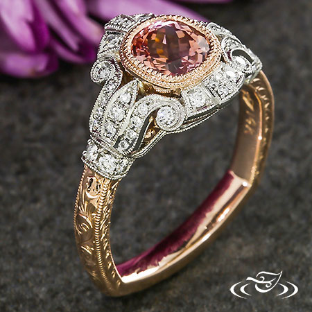 Cushion Pink Sapphire Antique Halo Engagement Ring