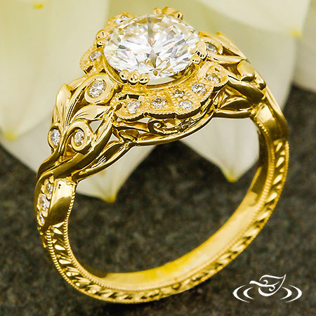 Nature Inspired Yellow Gold Engagement Ring
