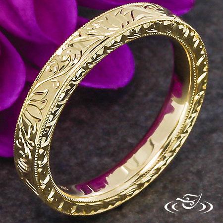 Lotus Engraved Wedding Band