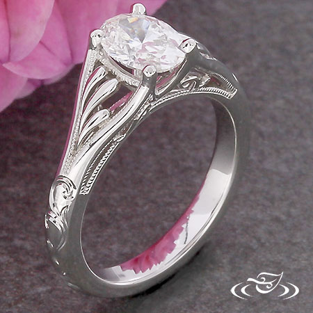 SWIRL OVAL ENGAGMENT RING