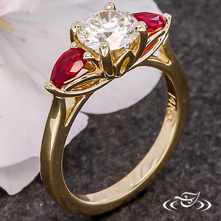 GOLDEN LOTUS THREE STONE ENGAGEMENT RING