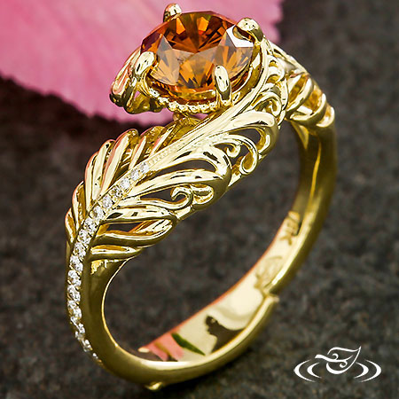 GOLDEN FEATHER PLUME ENGAGEMENT RING