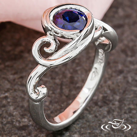 BLUE SAPPHIRE SWIRL ENGAGEMENT RING