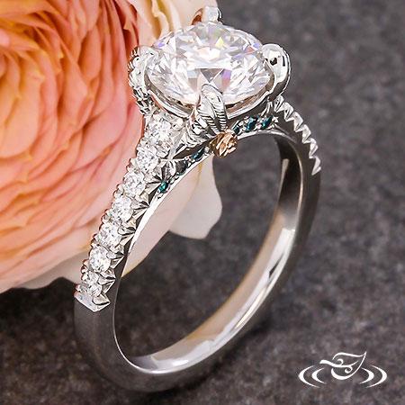 CUSTOM 'HUMMINGBIRD AND ROSE' DIAMOND ENGAGEMENT RING.