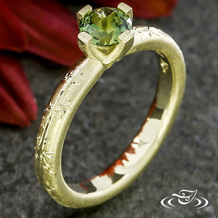 Green Gold Botanical Solitaire
